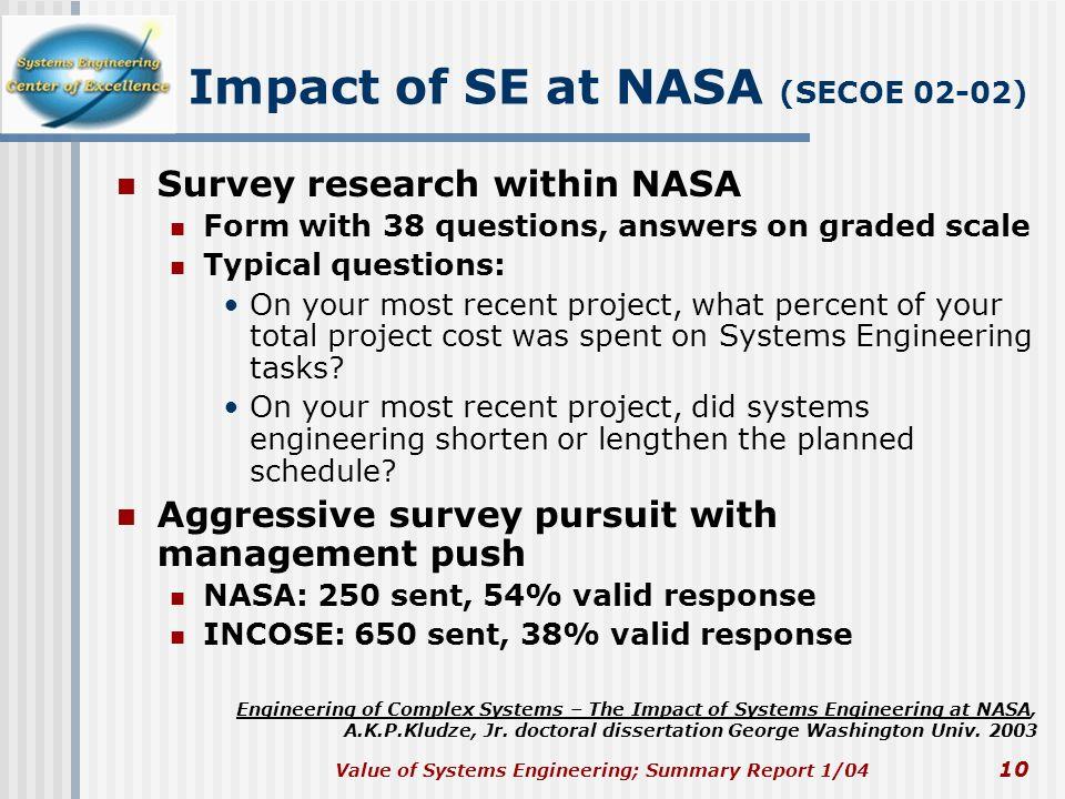 Impact of SE at NASA (SECOE 02-02)