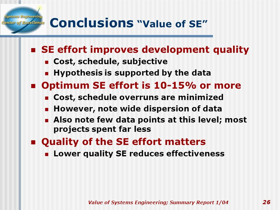 Conclusions Value of SE