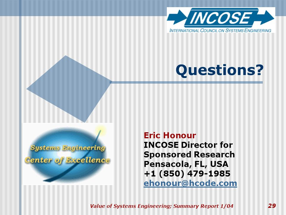 Questions Eric Honour INCOSE Director for Sponsored Research