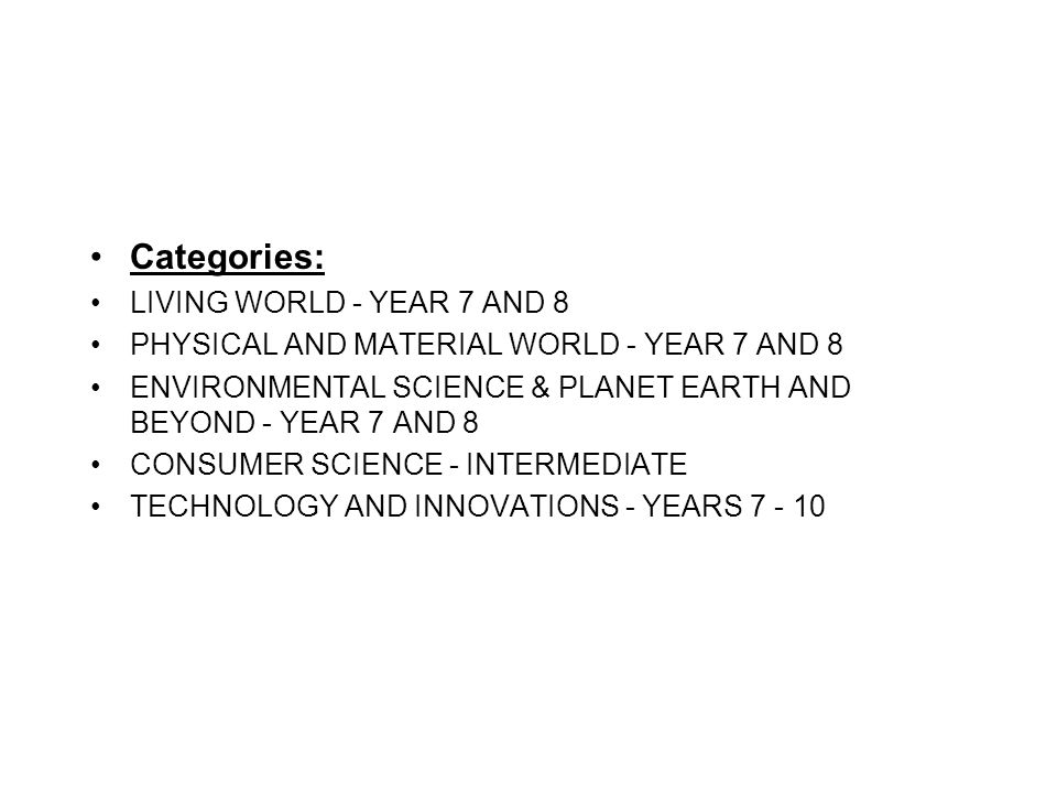 Categories: LIVING WORLD - YEAR 7 AND 8