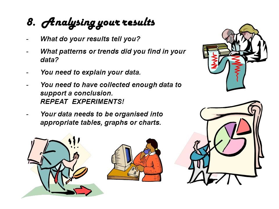 8. Analysing your results