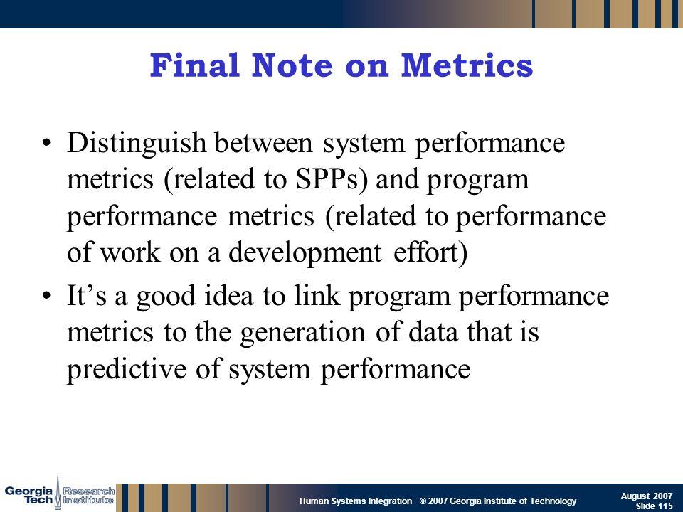 Final Note on Metrics