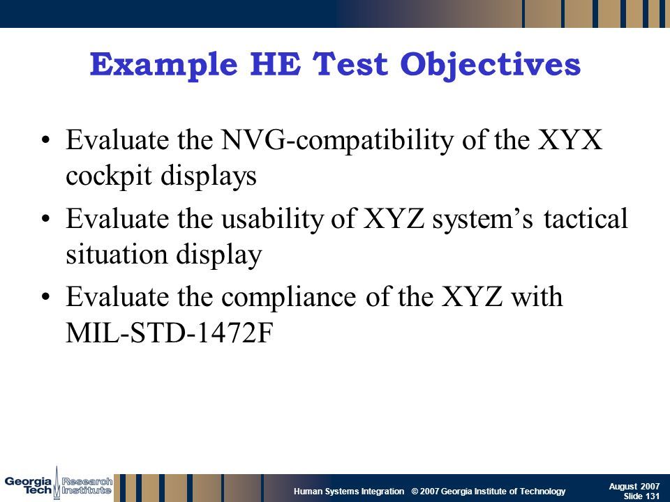Example HE Test Objectives