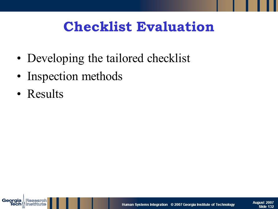 Checklist Evaluation Developing the tailored checklist