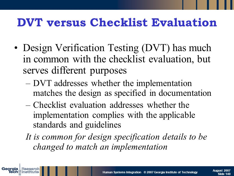 DVT versus Checklist Evaluation