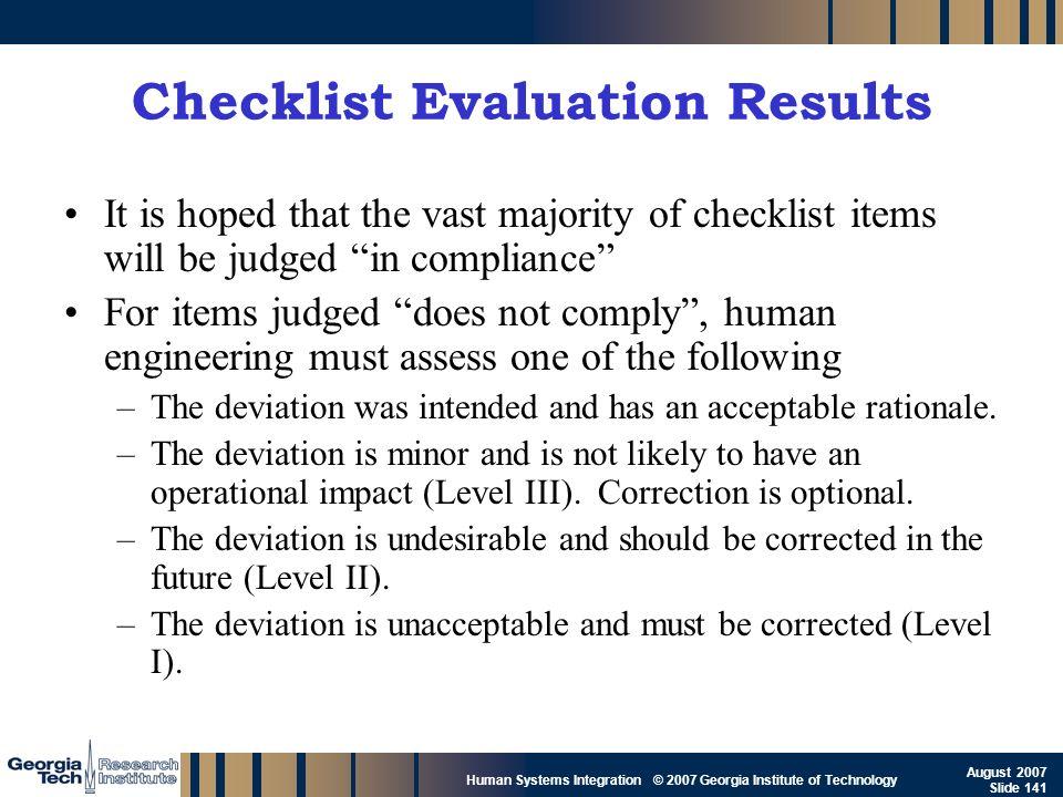Checklist Evaluation Results