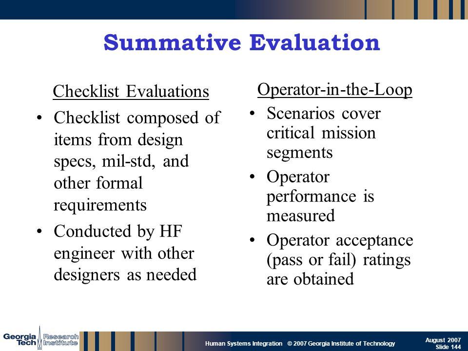 Summative Evaluation Checklist Evaluations