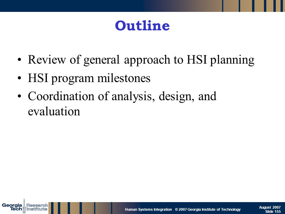 Outline Review of general approach to HSI planning