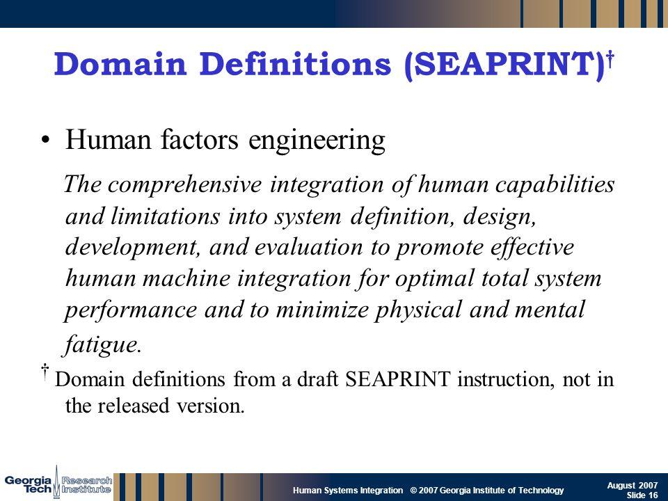 Domain Definitions (SEAPRINT)†