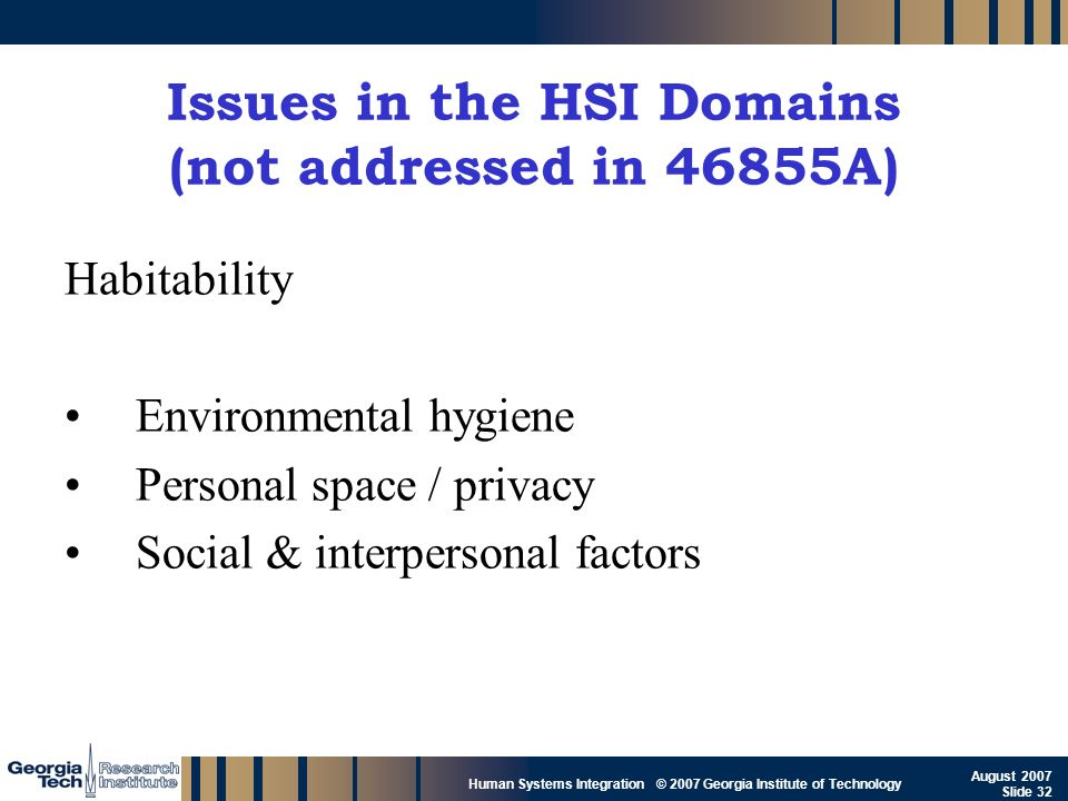 Issues in the HSI Domains (not addressed in 46855A)