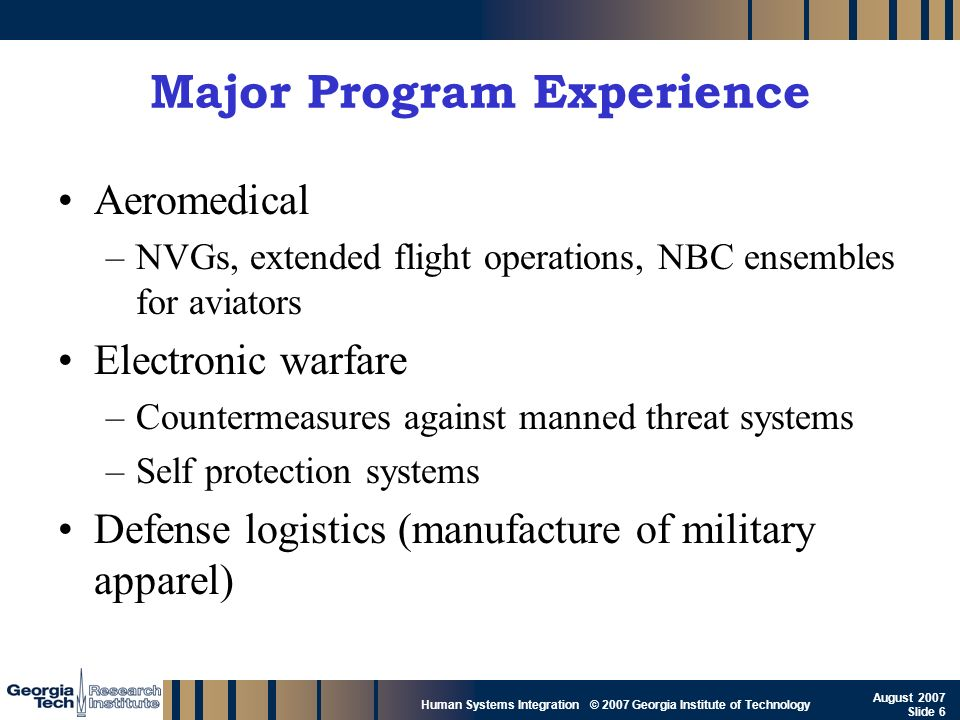 Major Program Experience