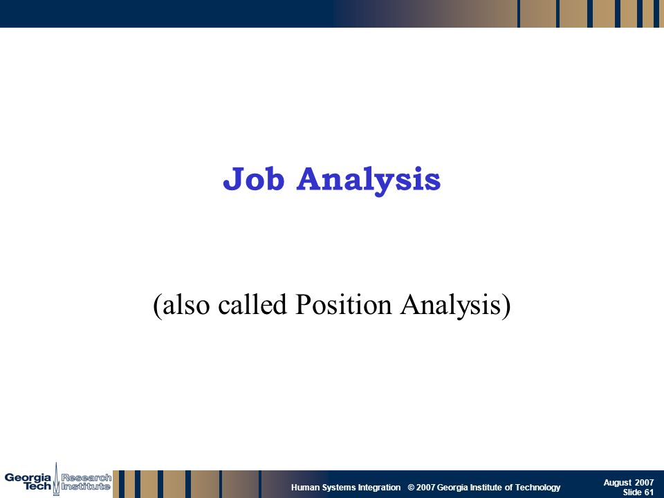 (also called Position Analysis)