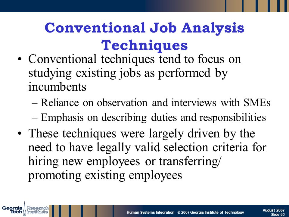 Conventional Job Analysis Techniques