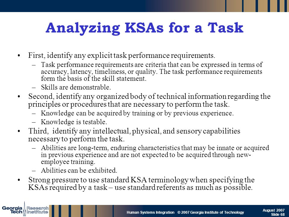Analyzing KSAs for a Task