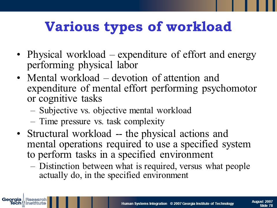 Various types of workload