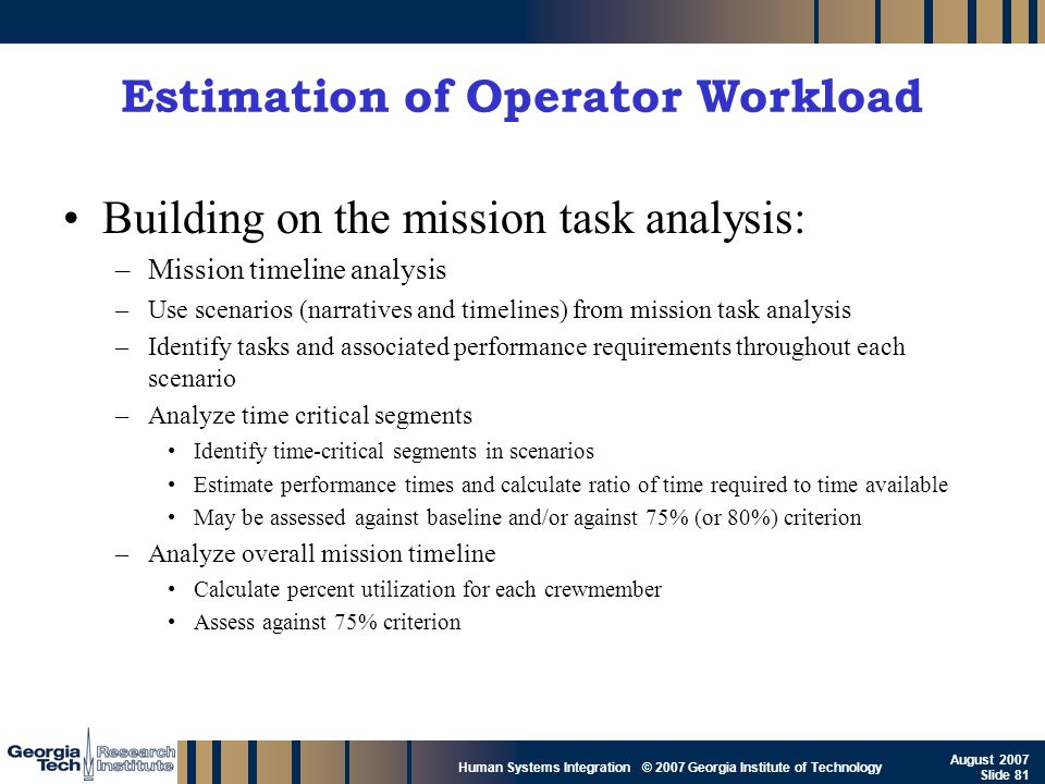 Estimation of Operator Workload