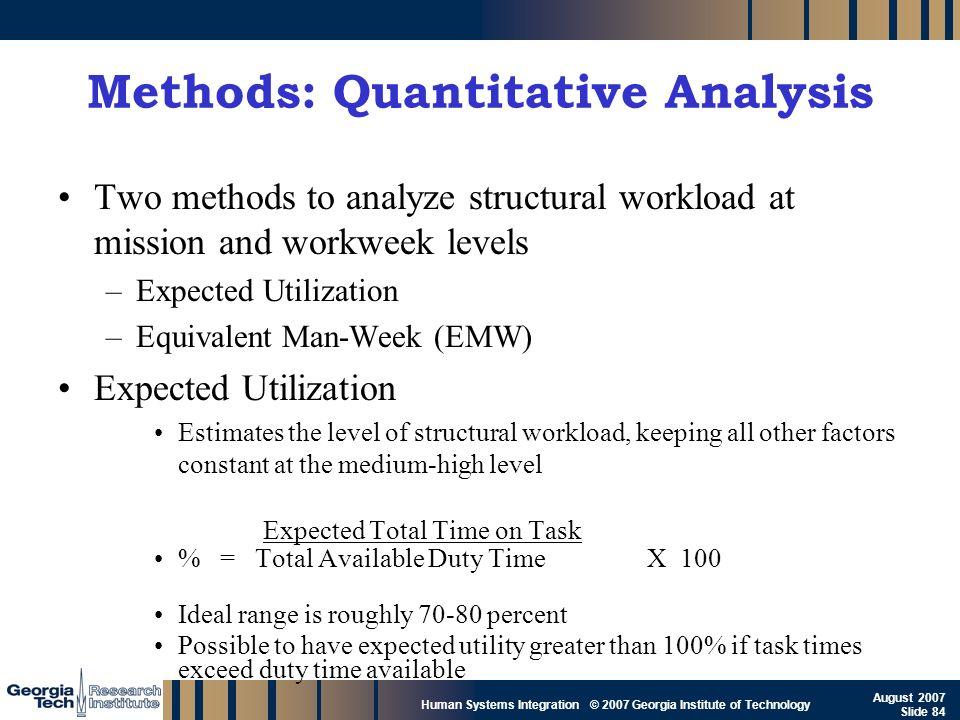 Methods: Quantitative Analysis