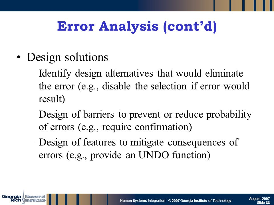 Error Analysis (cont'd)