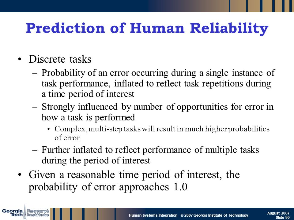 Prediction of Human Reliability