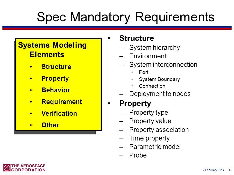 Spec Mandatory Requirements