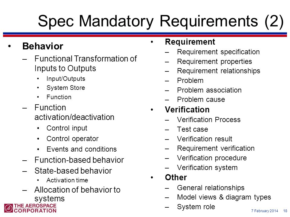Spec Mandatory Requirements (2)