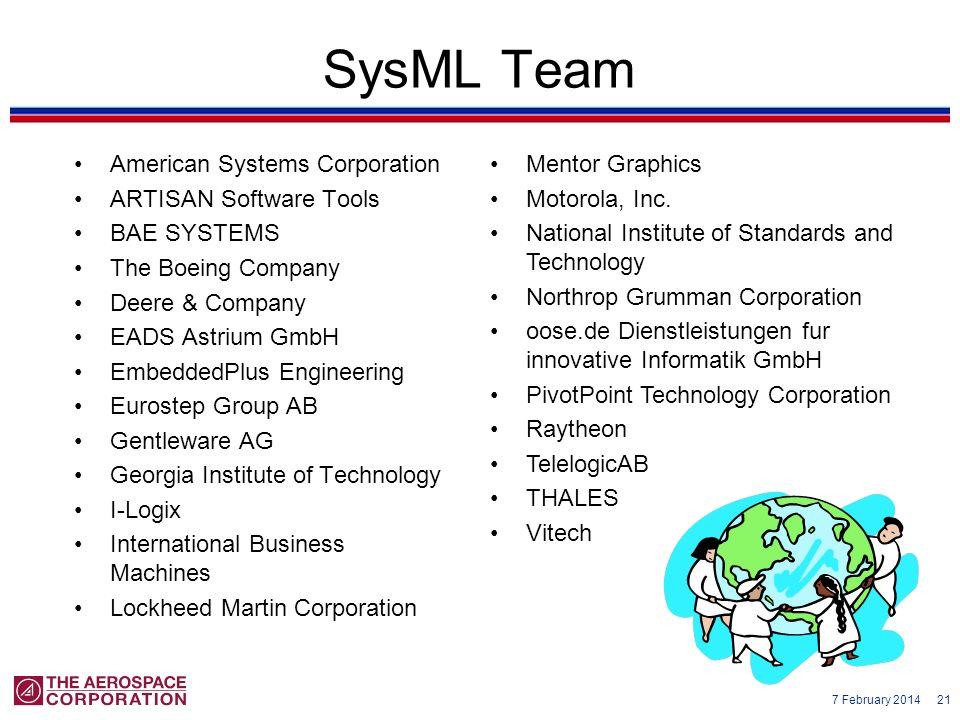 SysML Team American Systems Corporation ARTISAN Software Tools