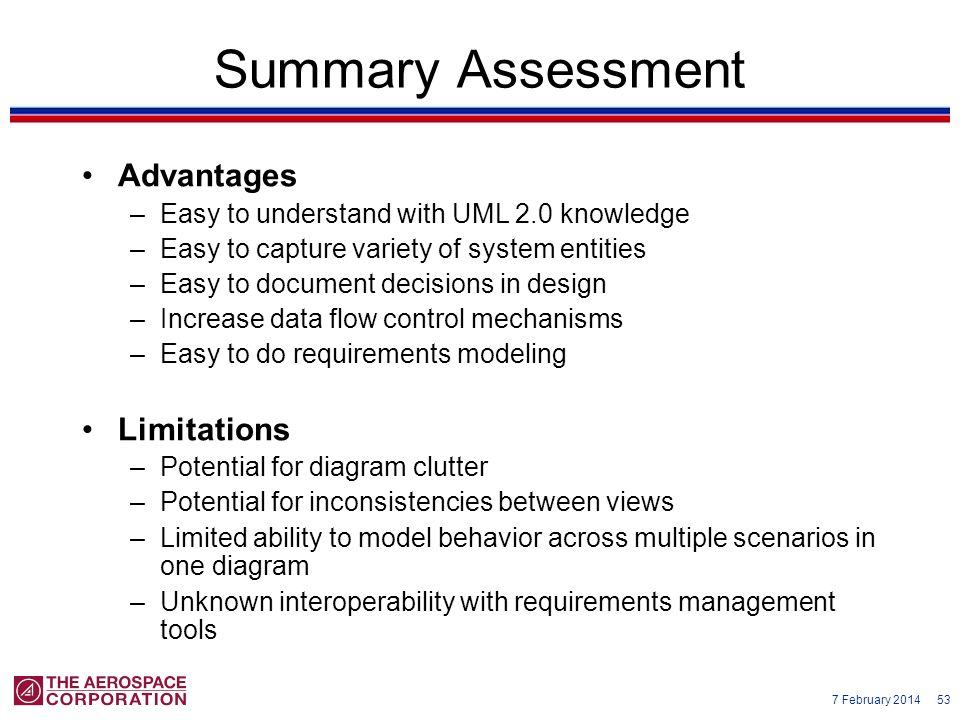 Summary Assessment Advantages Limitations