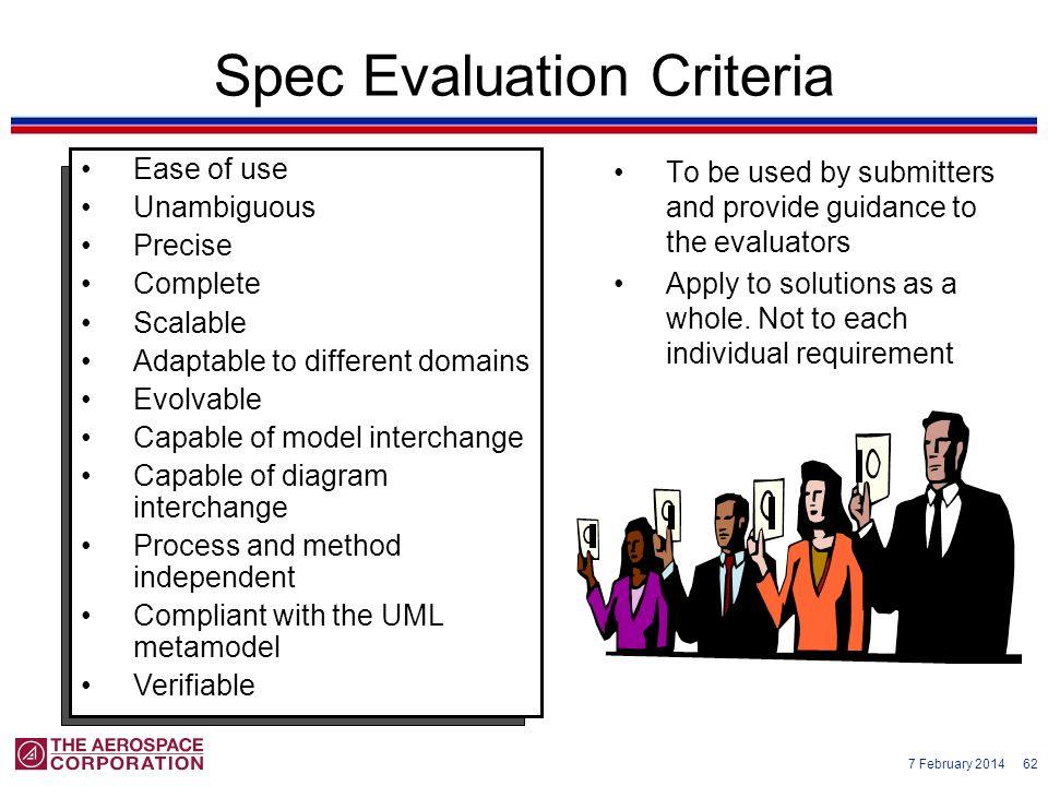 Spec Evaluation Criteria