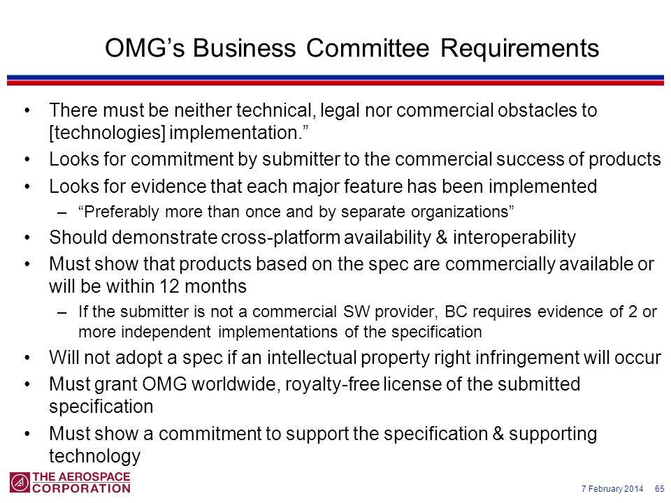 OMG's Business Committee Requirements