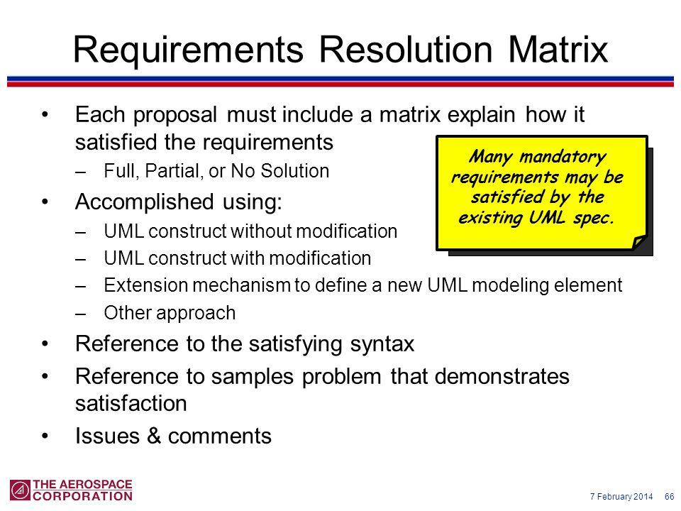 Requirements Resolution Matrix