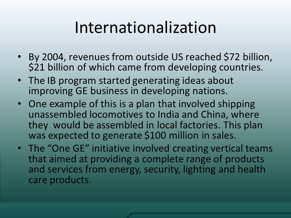 'ge's growth strategy the immelt initiative' General electric growth strategy: the imment initiative  the first and foremost objective of immelt's strategies was increment in organic growth of company from.