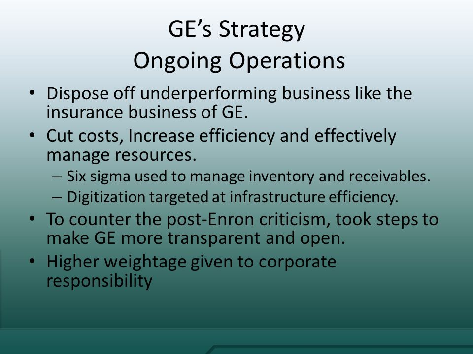 ge growth strategy the immelt initiative Ge growth strategy and ge health care ge's growth strategy: the immelt initiative 1 when immelt took over as ceo of ge, he was faced with many.