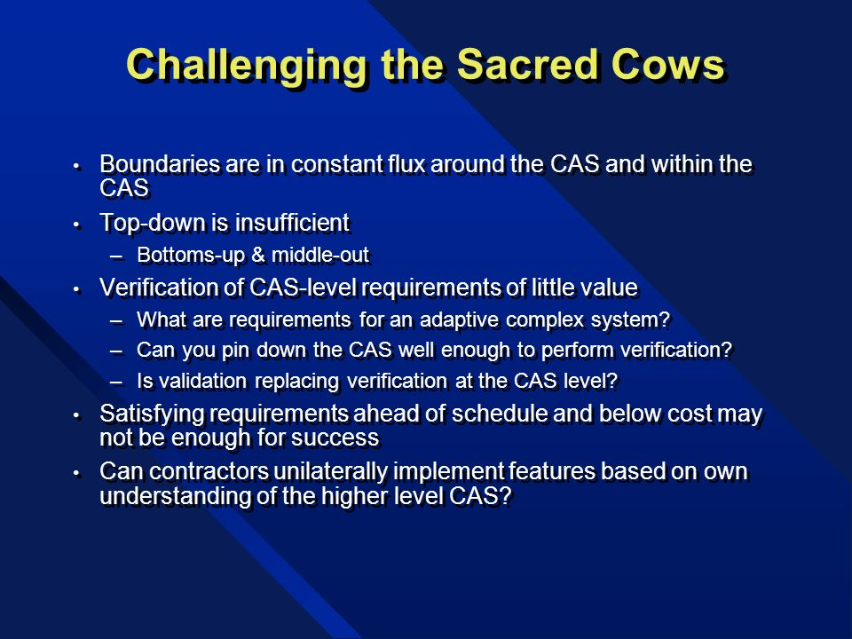 Challenging the Sacred Cows