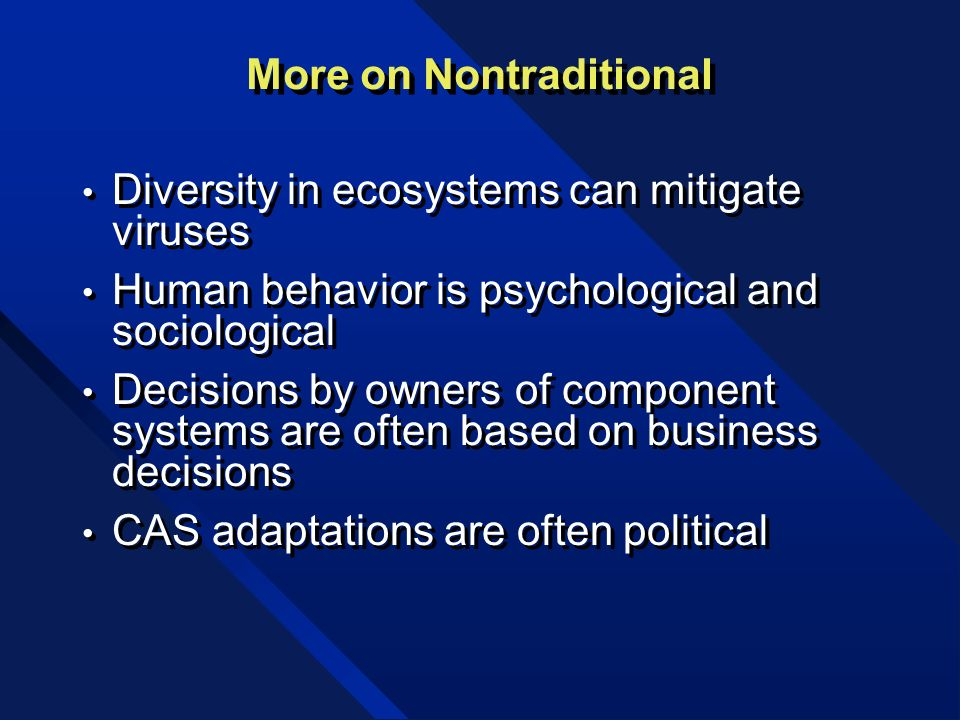 More on Nontraditional