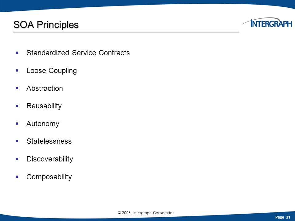 SOA Principles Standardized Service Contracts Loose Coupling