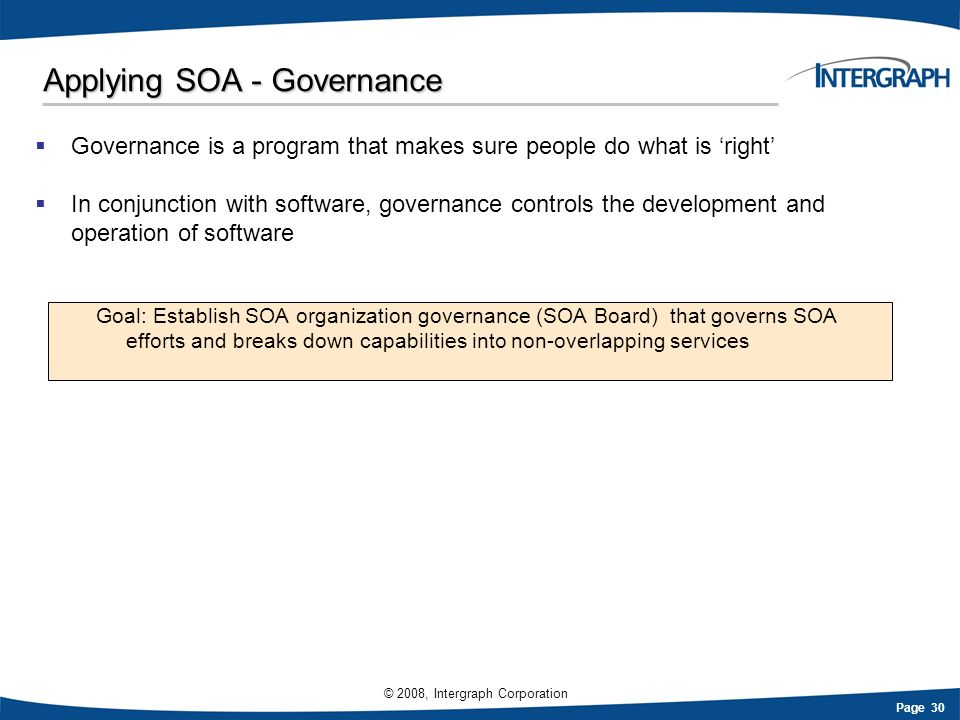 Applying SOA - Governance