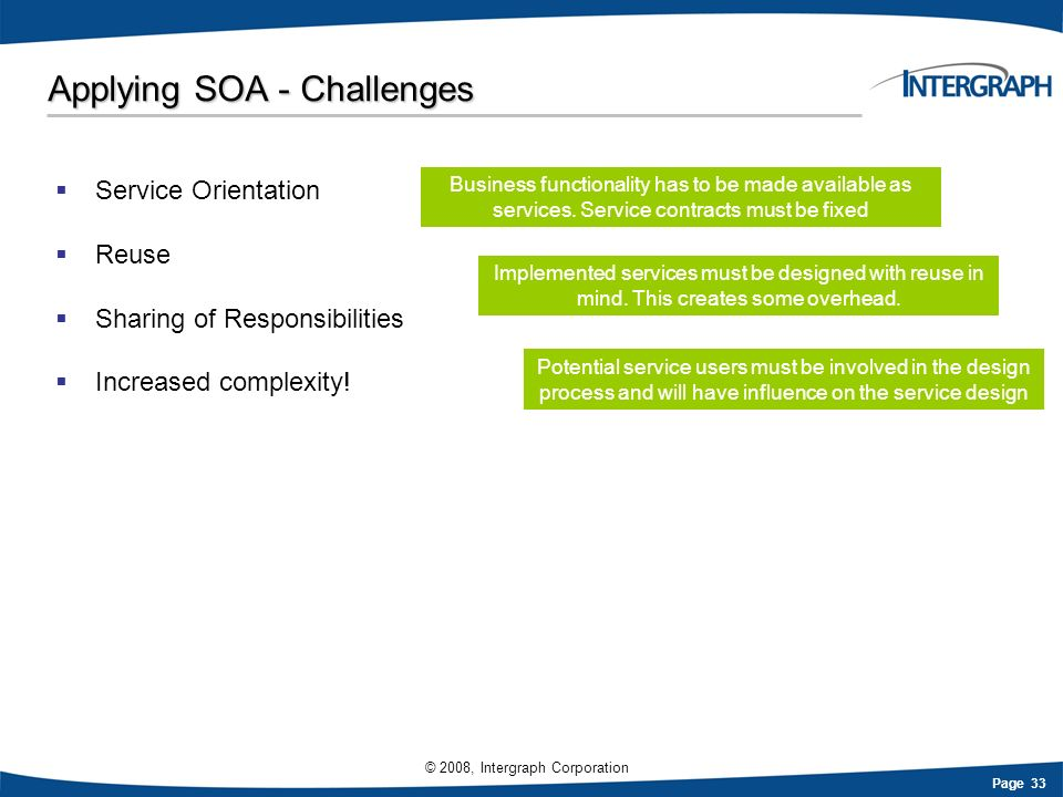 Applying SOA - Challenges