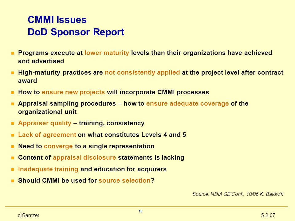 CMMI Issues DoD Sponsor Report