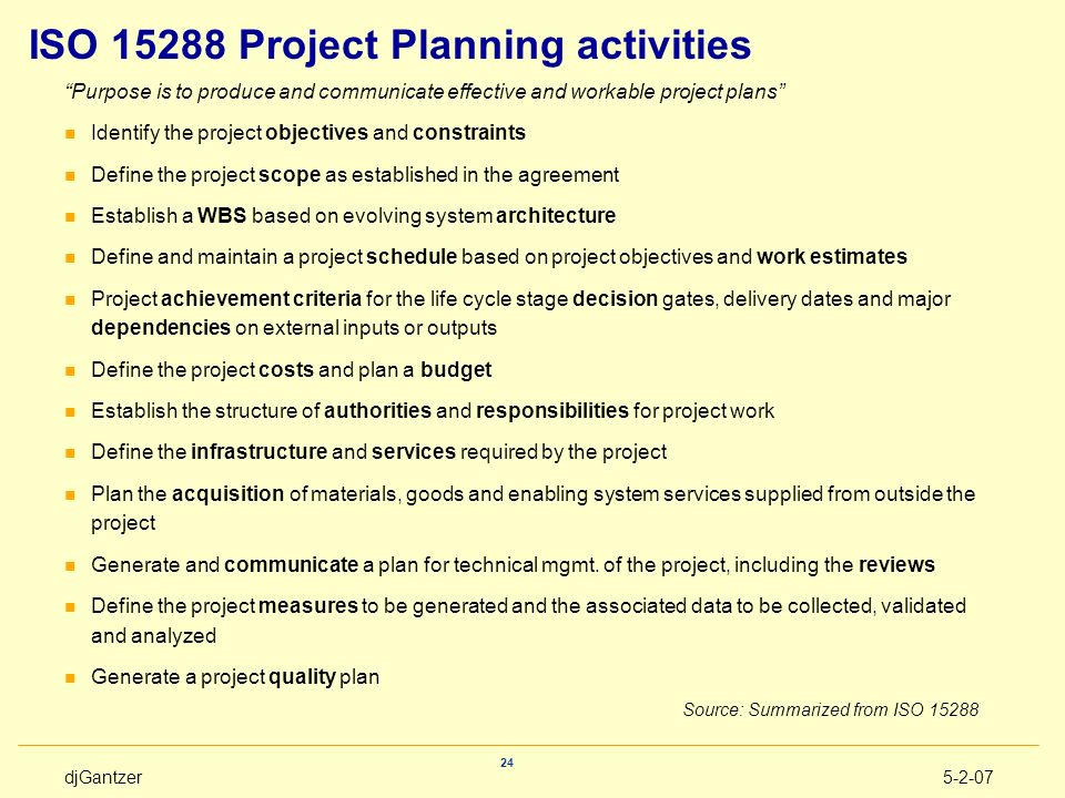 ISO 15288 Project Planning activities