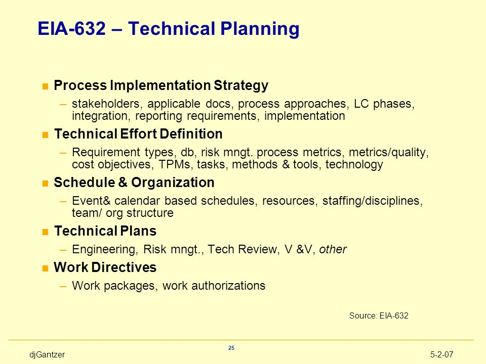 EIA-632 – Technical Planning