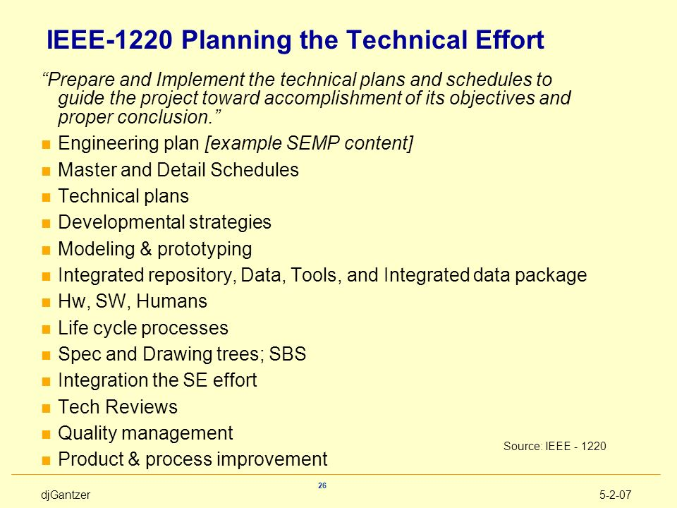 IEEE-1220 Planning the Technical Effort