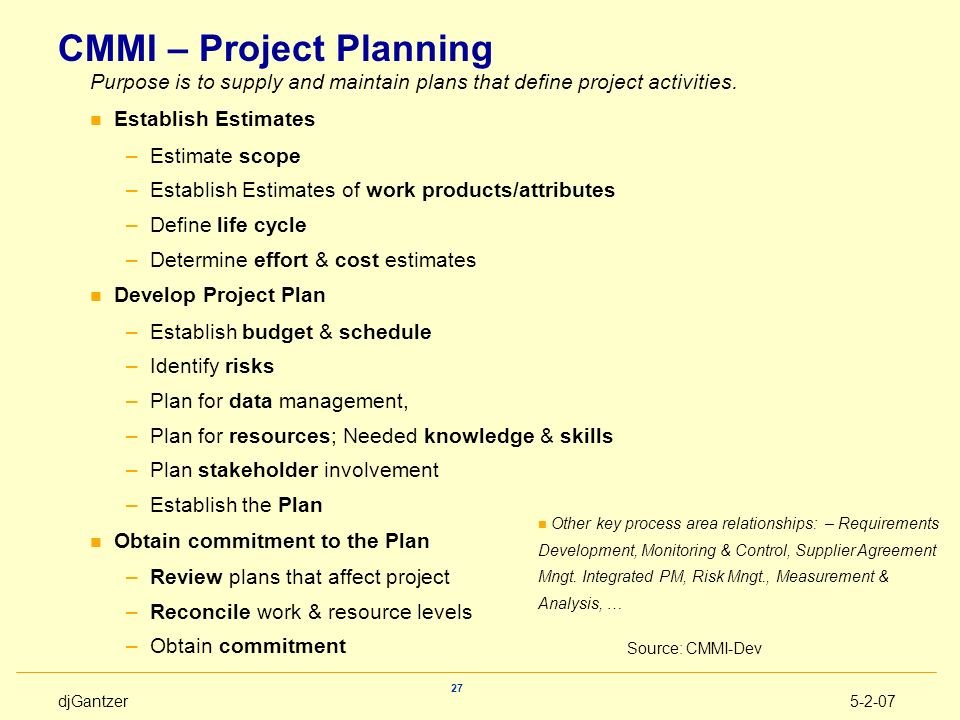 CMMI – Project Planning