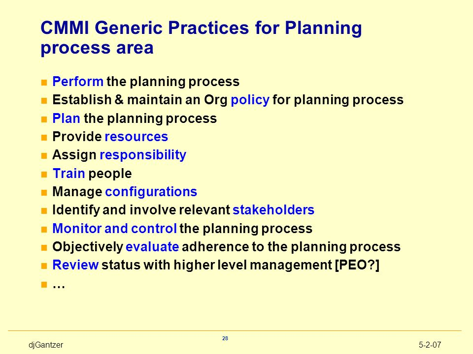 CMMI Generic Practices for Planning process area