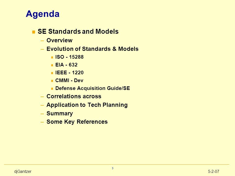 Agenda SE Standards and Models Overview