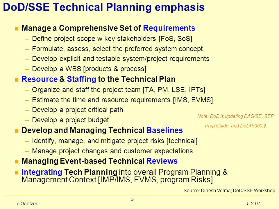 DoD/SSE Technical Planning emphasis