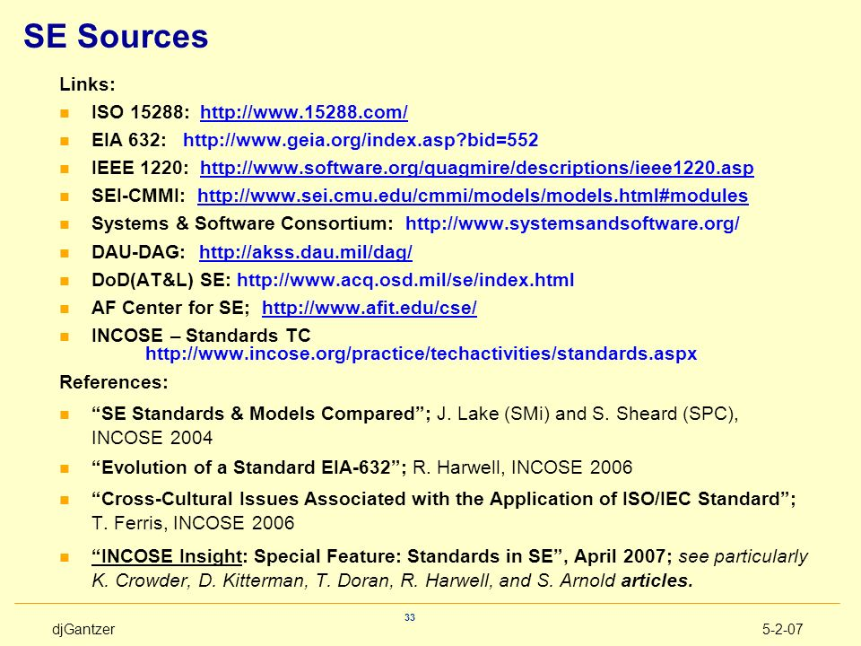 SE Sources Links: ISO 15288: http://www.15288.com/