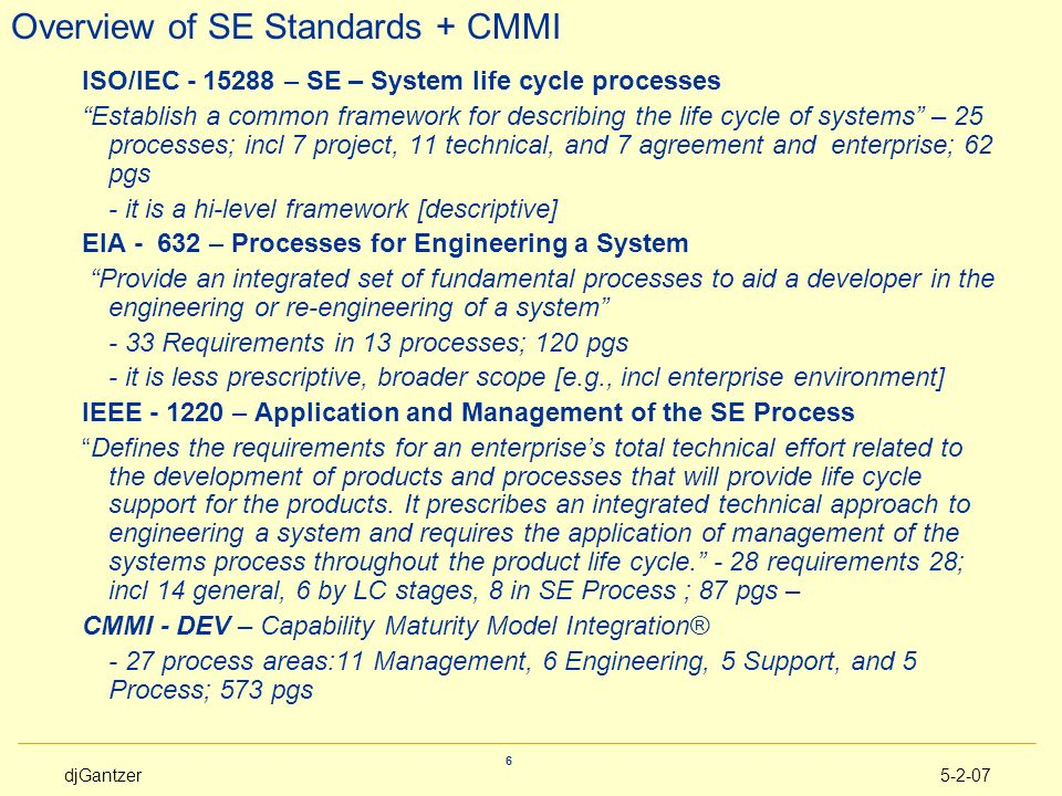 Overview of SE Standards + CMMI