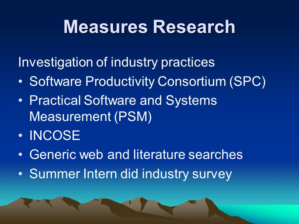 Measures Research Investigation of industry practices