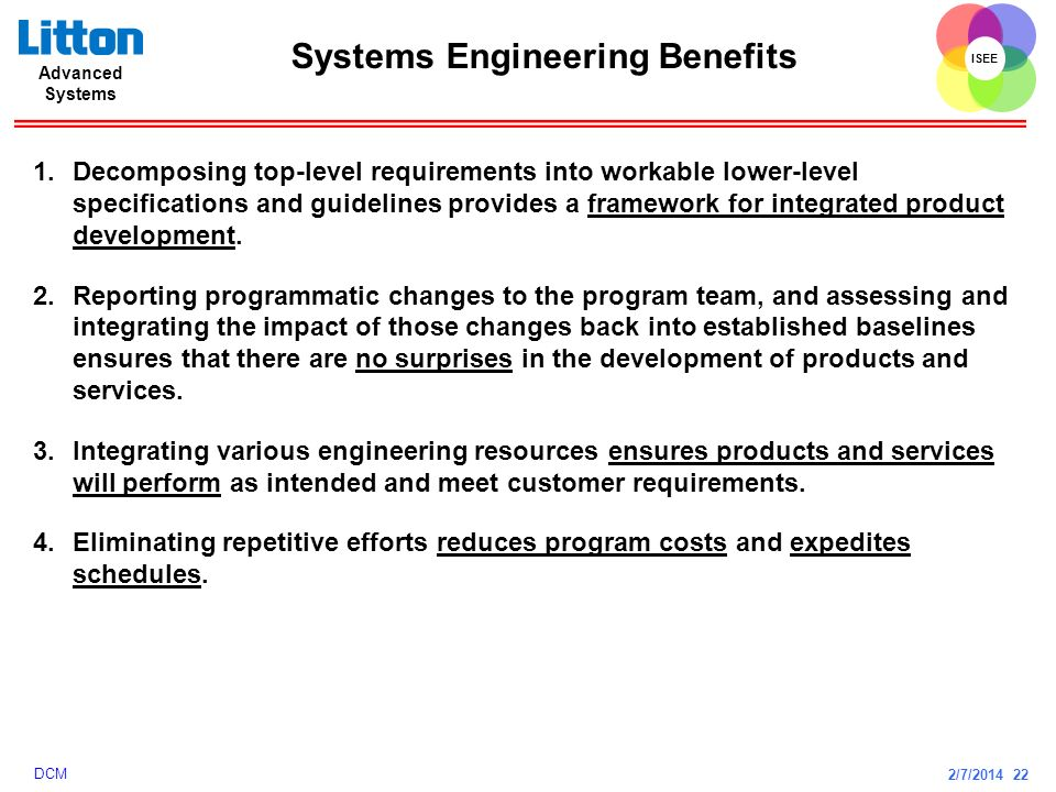 Systems Engineering Benefits