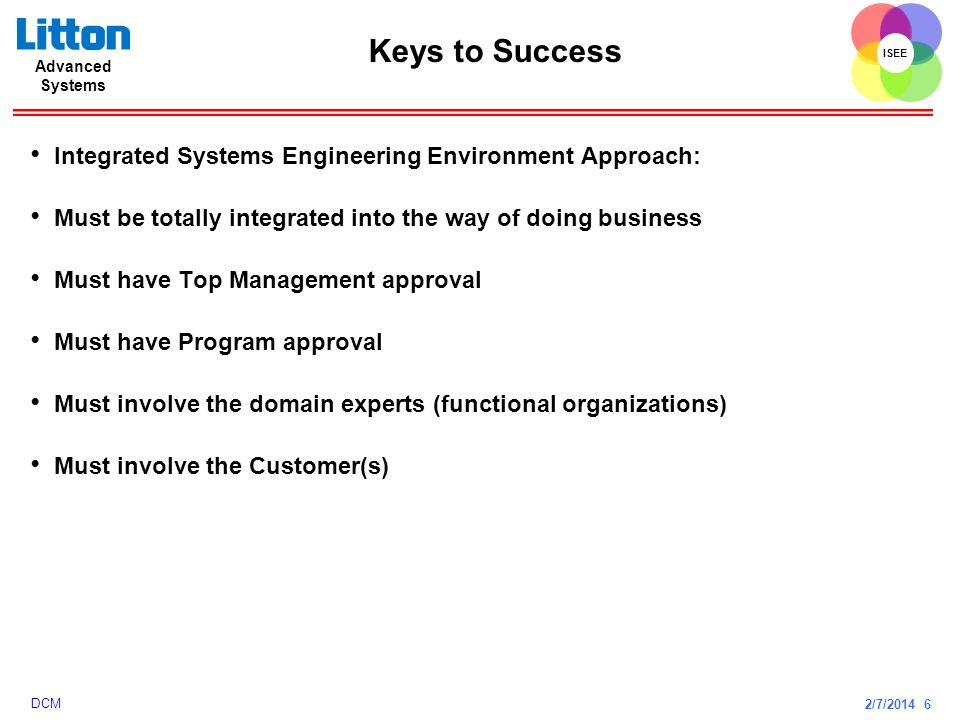 Keys to Success Integrated Systems Engineering Environment Approach: